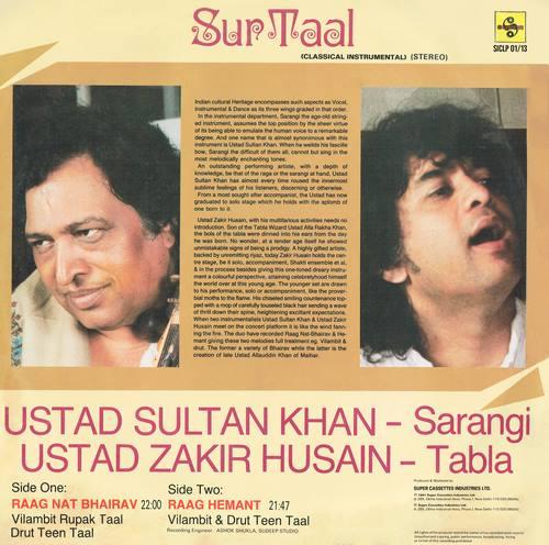 Zakir Hussain & Sultan Khan - Sur Taal - SICLP 01/13 - Cover Reprinted - LP Record