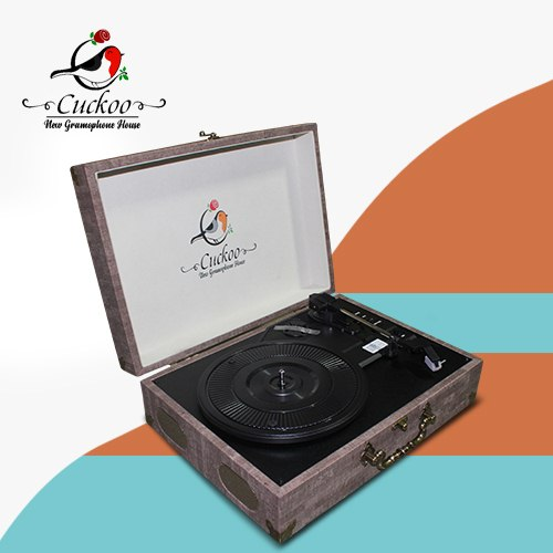 CUCKOO - 3 SPEED RECORD PLAYER/TURNTABLE - BURLYWOOD - With USB SD & Bluetooth - 1583005002