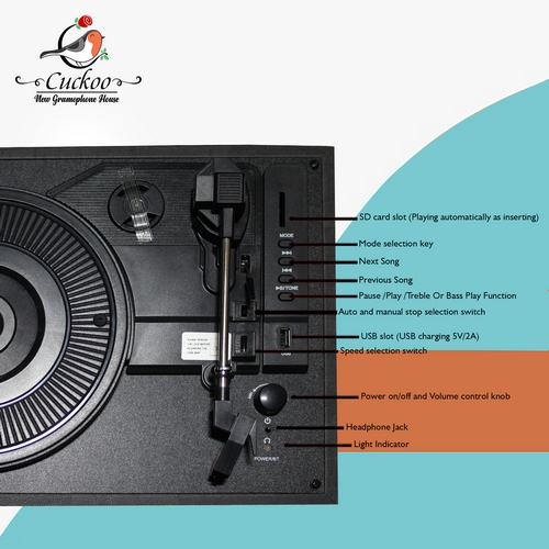 CUCKOO - 3 SPEED RECORD PLAYER/TURNTABLE - BLACK - With USB SD & Bluetooth - 1583005001
