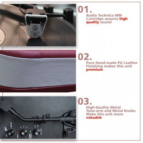 SURAINE - SBT 200BT - 2 Speed Record Player with Magnetic Cartridge & Phone Bluetooth System - (Red White)