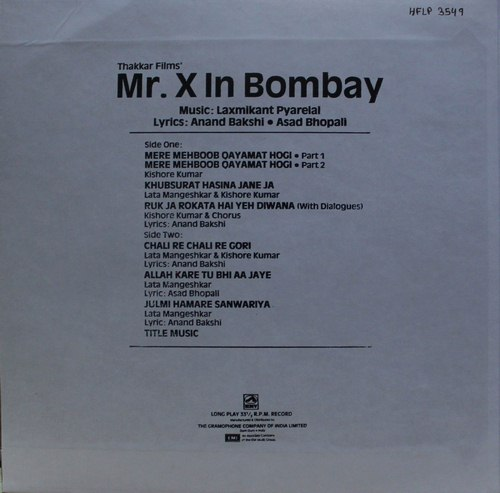 Mr.X In Bombay - HFLP 3549 - LP Record