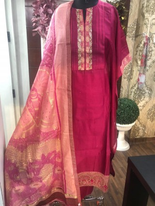 Pure Pink Maheshwari silk 3 Pieces Suit Semi Stiched - 6580