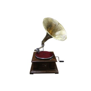 Vintage Replica 4 Corner Wooden Working Gramophone - Model. GRM7