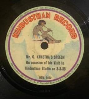 Speech Of G. Kamstra - HSB. 1872 - Single Side - 78 RPM