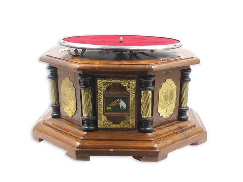 Vintage Replica 8 Corner Wooden Working Gramophone Golden Design With Brass Pillars - Model. GRM1 – (Free - 1 Pcs : 78 RPM Record & 100 Pcs Needles Box)
