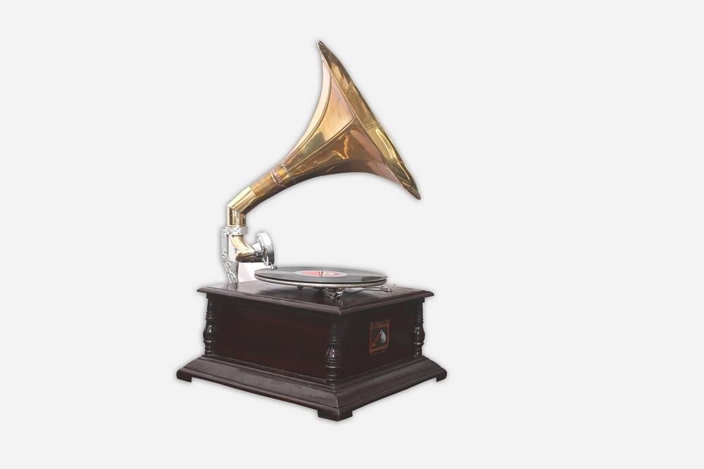 Vintage Replica 4 Corner Wooden Working Gramophone - GRM2 - (Free - 1 Pcs : 78 RPM Record & 100 Pcs Needles Box)
