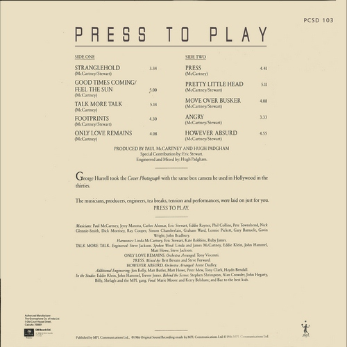 Paul McCartney - Press to Play - PCSD 103 - Cover Reprinted - LP Record