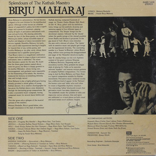 Birju Maharaj - Splendours Of The Kathak Maestro Birju Maharaj - EASD 1438 - LP Record
