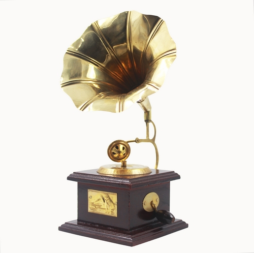 Indian Handmade Gramophone Showpiece Wooden Brass Decorative Antique/Vintage Style Gramophone for Table Decor - Gramophon-1
