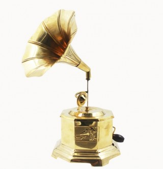 Indian Handmade Gramophone Showpiece Brass Eight Sided Decorative Antique/Vintage Style Gramophone for Table Decor - Gramophon-2