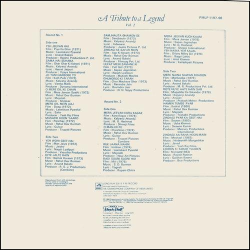 Kishore Kumar - A Tribute To A Legend Vol. 2 - PMLP 1197-98 - (Condition - 85-90%) - Cover Reprinted - 2LP Set